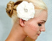 Birdcage Veil and peony hair flower - 2 items- ivory or white