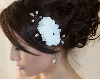 Chiffon Hair flower with natural pearls and crystals - hair clip comb wedding headpiece  Fascinator - sheer flower Rhinestone hair comb HF2