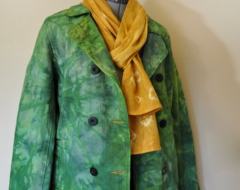 """Yellow Gold Linen SCARF - Eclectic Style - Golden Sunshine Hand Dyed Hand Made Linen Scarf #29 - 8x76"""""""