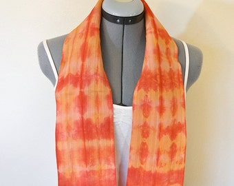 Cotton Linen SCARF - Red Orange Tan Hand Dyed Tie Dye Hand Made Linen Cotton Neck or Head Scarf #25 - 5 x 46""