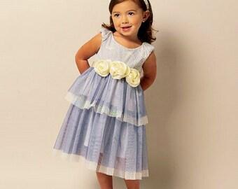Little Girls' Ruffle Dress Pattern, Toddlers' Special Event Dress Pattern, Flower Girl Dress Pattern, Butterick Sewing Pattern 5843