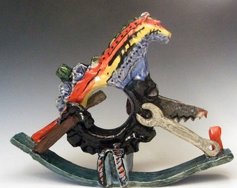 SALE: Steampunk Rocking Horse in Rainbow Colors - handmade one of a kind sculpture in clay