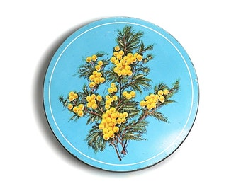Huntley Palmer Biscuit Tin Aqua Yellow Flowers England