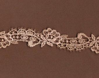 Hand dyed Venise Lace Sweet Petite Rose Garland Appliques Vintage Blush Latte