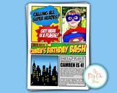 Kids Birthday Party Invitation Super Hero Theme