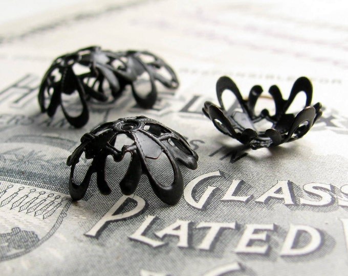 14mm Art Nouveau bead cap, domed scalloped delicate (6 black antiqued brass bead caps) aged black patina - BC-SG-035