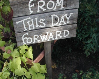 Traditional Wood Wedding Vows Mini Sign on Stake Rustic Western Country From This Day Forward