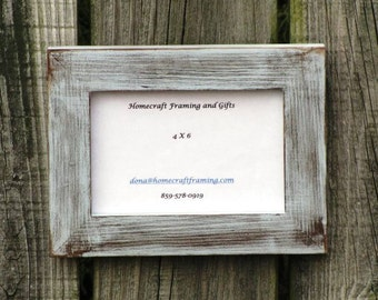 4X6 Distressed Picture Frame Chambray Blue Brown Rustic Wedding Photo Wooden Frame