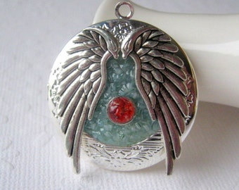 Dragon Necklace, Dragon Egg Necklace, Dragon Locket, Angel Wing Locket, Dragon Jewelry, Angel Jewelry, Stained Glass Dragon, Silver Wings