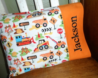 Construction Zone Personalized Travel Pillow Pillowcase