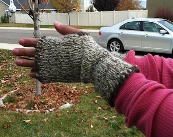 Blanket stitch fingerless mittens - handwarmers ready to ship