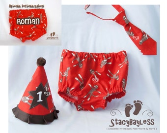 3 PIECE SET Sock Monkey Party Hat - Diaper Cover - Necktie for Cake Smash or First Birthday - Baby - Boys