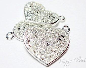 Sparkly and Silver LOVE Heart Rhinestone Charm... 2pcs