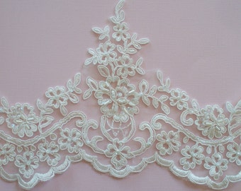 Ivory Lace Trim, Bridal Lace, Wedding Gown Lace, Beaded Alencon Lace, Pearled and Sequined Lace - 1 Yard