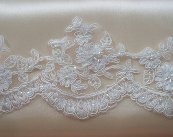 Ivory Lace Trim, Bridal Lace, Wedding Gown Lace, Beaded Alencon Lace, Beaded and Sequined Lace - 8 Yard