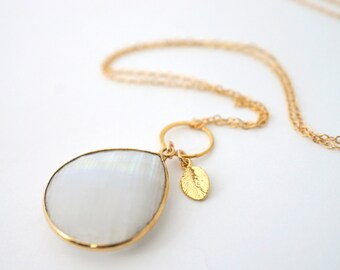 Long Moonstone Pendant Necklace, Long Charm Necklace, Long Gold Necklace, Moonstone Pendant Necklace, Healing Necklace, Long Stone Necklace