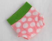 Small Soaker Seedy Pink Strawberry Fleece Diaper Cover, Happy Grass Green, White Polka Dot, Ready to Ship Easter Spring New Baby Photo Prop