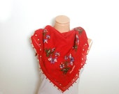 Red Needlecraft  lace embroidery handmade Floral Fabric Scarf Shawl