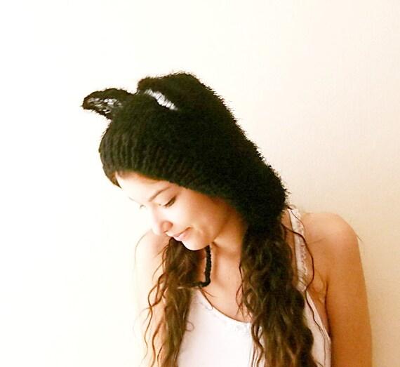 Hand Knitted black cat ears hat,cat hood,  brute beanie,knit animal hat .