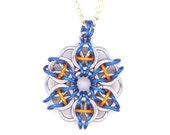 Chainmaille Celtic Star Pendant with Chain Necklace Blue Silver and Copper