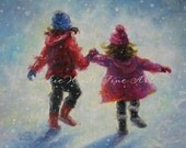 Snow Sisters Art Print two sisters holding hands children snow paintings, sisters wall art, Vickie Wade art