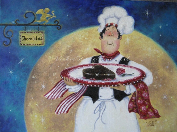 Chocolate Chef Art Print Fat Chefs Pastry By Vickiewadefineart