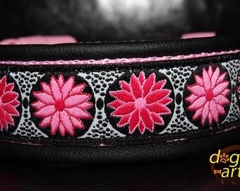 """Dog Collar """"Daisy Dot"""" by dogs-art, pink dog collar, leather dog collar, daisy dog collar, polka dog collar, dog collar flower, dog collar"""