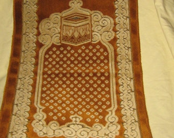 VINTAGE Antique handwoven  small tapestry rug with fringe
