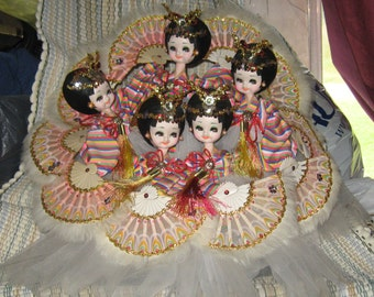 5  vintage   Big Eyed Korean Fan  feather full body   Dancers  Boudoir Dolls