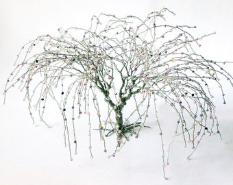 willow wire art tree - silver wire pink grey beads art tree statue - minimalistic decor