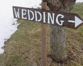 Rustic Wedding signs READY TO SHIP reception ceremony sign wood w/Stake burlap bow sign beach wedding vintage wedding shabby chic