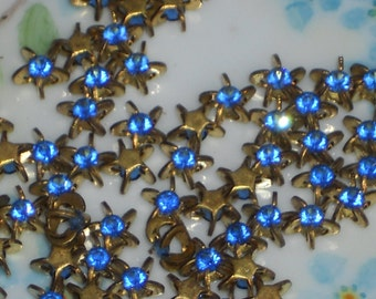 Vintage Swarovski Rhinestones Sapphire Star NOS Pronged Setting 8mm Buttons. #296