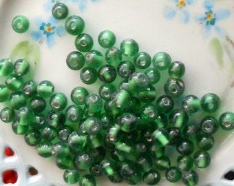 Vintage Glass Beads, Emerald Green 6mm Mini Small NOS Czech Republic Rich Rare,#62