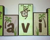 Personalized Wood Blocks - M2M Kids Line's Mod Pod Pop Monkey bedding - Baby Room Decor Custom Name Letters - Baby Letter Blocks