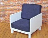 Midcentury Modern Club Chair-- Navy with White Frame