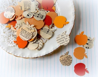 Vintage Apple Confetti / Autumn Harvest Mix / 50 Pieces / Party Decor / Table Confetti / Vintage Confetti