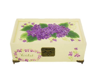Personalized Hand-Painted Jewelry Box - Ivory with Violet Purple Flowers Original Art Design, Mirror, 2 Trays, HandPainted Keepsake Box