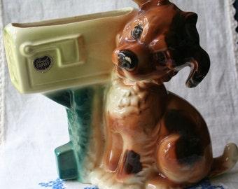 Vintage Royal Copley Brown Dog Planter Vase Puppy Mailbox Ceramic Chippy Shabby 1950s