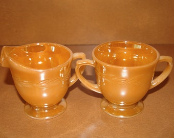 Sugar Bowl and Creamer Set, Peach Lustre,  by Fire King, Made in USA, Vintage 1950s to 1963
