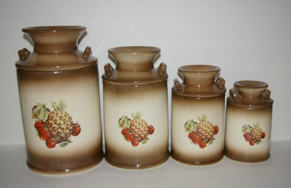 kitchen canisters set of 4 brown pineapple strawberry