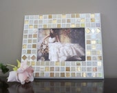 WEDDING Gift or Decor--handmade glass mosaic PHOTO FRAME--Shower Gift, Engagement Party,  Bridesmaid gift idea TaGT white cream ivory beige