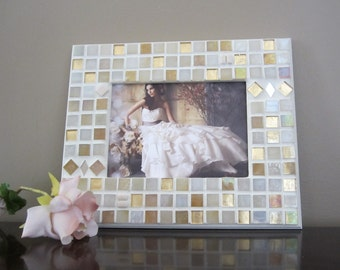 WEDDING Gift or Decor--handmade glass mosaic PHOTO FRAME--Shower Gift, Engagement Party,  Bridesmaid gift idea TaGT white cream ivory beige