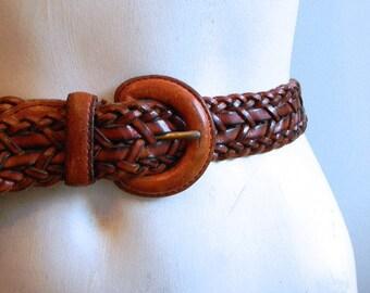 vintage.  Golden Brown Leather Worn Braided Woven Belt // Waist Belt // S M or L