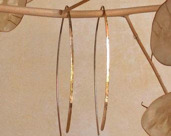 Gold Wishbone Hoop Earrings, 14k Gold Filled Threader Earrings, Smooth Flat Front Boho Earrings, Bohemian Jewelry, Mod Jewelry,Made in USA