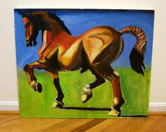 Horse Painting Original Large Oil on Canvas Striking Expressionist Image Stunning Color Palette Muscular Heroic Statuesque Equus