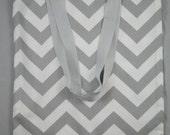 Gray Chevron Tote Bag- Printed Cotton Tote - Travel - Beach - School Bag
