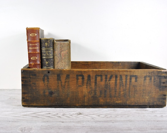 Vintage Wooden Box Industrial Storage By Havenvintage On