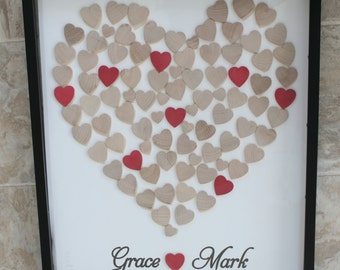 Wedding Guest Book Alternative 3D Wedding guest book and Unique Heart Guestbook - 16 x 20 -  Shadow Box Included