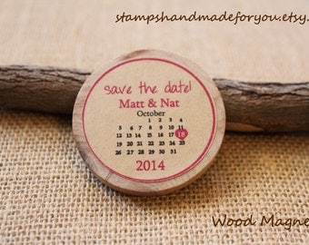 Custom Calendar  Save the date/Wedding Favor Wood Magnets 50 personalized made to order