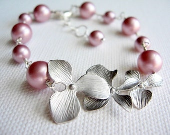 Orchid and Pink Pearl Bracelet, Orchid Bridesmaid Bracelet, Powder Pink, Sterling Silver, Delicate Flower Jewelry